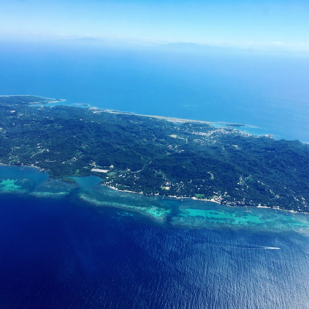 Vacation in roatan from plane