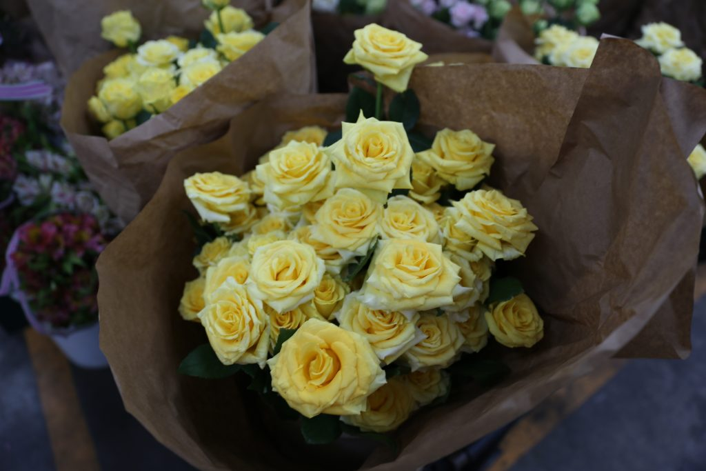 yellow roses at the Los Angeles Flower Market