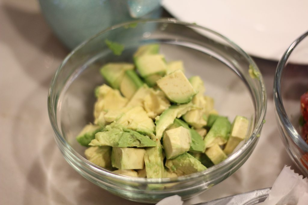 ingredients for healthy spicy ahi salad- avocado