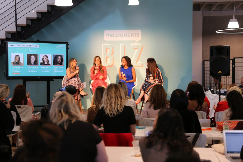 From left to right, Justin Goodman (Editor in Chief, She Knows Media), Nicole Lapin (TV personality and author), Sherita Rankins (creator, Busywife, Busylife), Dee Mclaughlin, (Senior VP, Global Branding Capital Group)